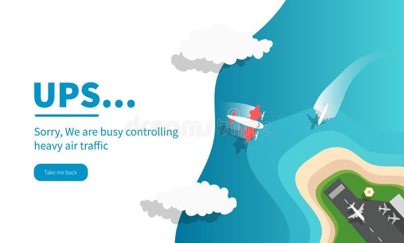 Landungsseite oder Fehlerseite für Website und beweglicher Websiteentwurf und -entwicklung lizenzfreie abbildung