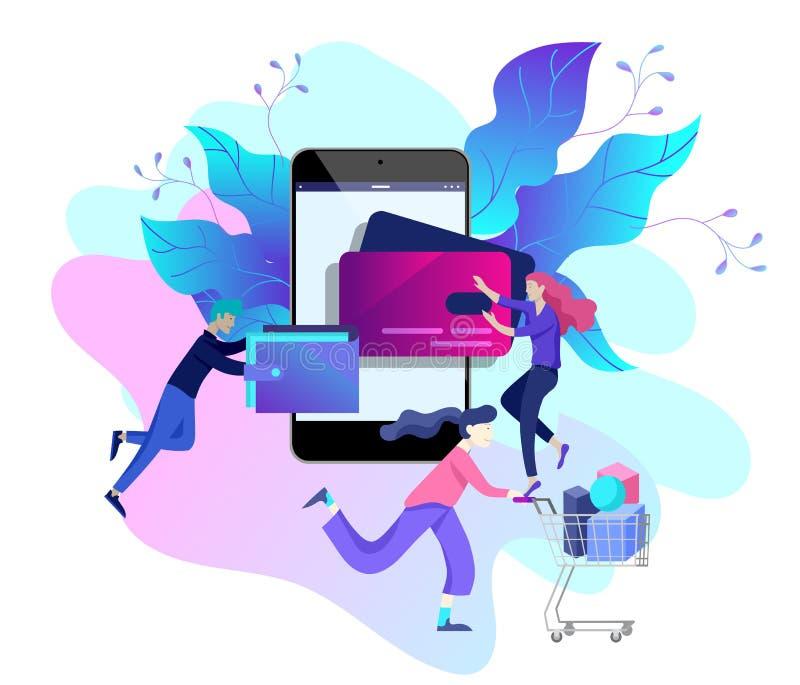 Landungsseitenschablone des on-line-Einkaufens Modernes flaches Konzept des Entwurfes der Webseite lizenzfreie abbildung