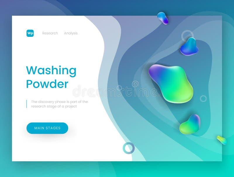 Landungsseitenschablone mit einem blauen neuen Hintergrund - Waschpulver, kann für Reinigungsmittel, Seife, Shampoo benutzt werde stock abbildung