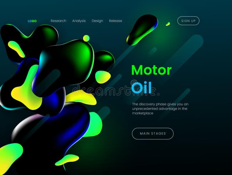 Landungsseitenschablone mit einer grünen Hintergrundfarbe und flüssigen Formen der Zusammenfassung - Motorenöl, kann für natürlic stock abbildung
