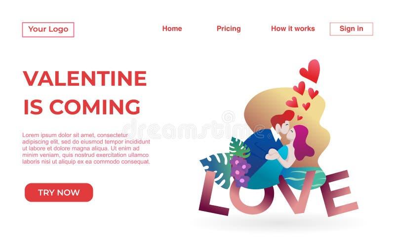 Landungsseitenschablone von Paaren mit Valentine Dating Apps Illustration Concept Modernes flaches Konzept des Entwurfes des Webs vektor abbildung