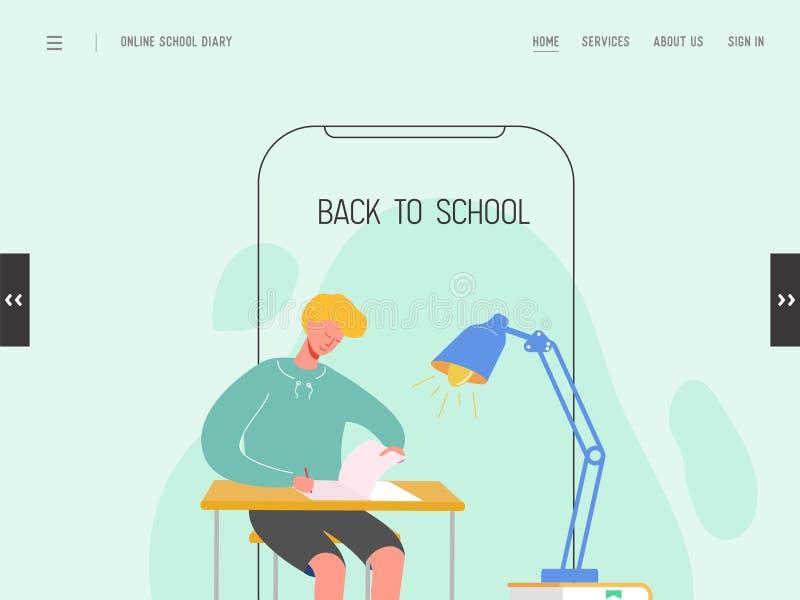 Landungsseitenschablone zur?ck zu der Schule Modernes flaches Entwurfsausbildungskonzept des Webseitenentwurfs für Website oder M stock abbildung