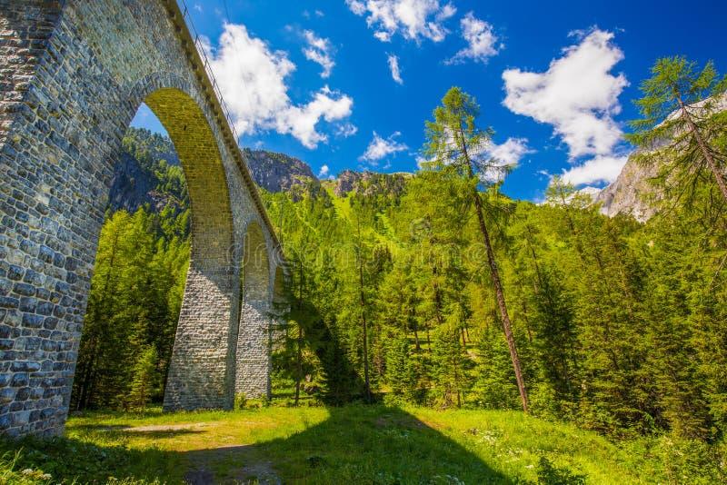 Landwasser在Albula通行证的高架桥桥梁 库存照片