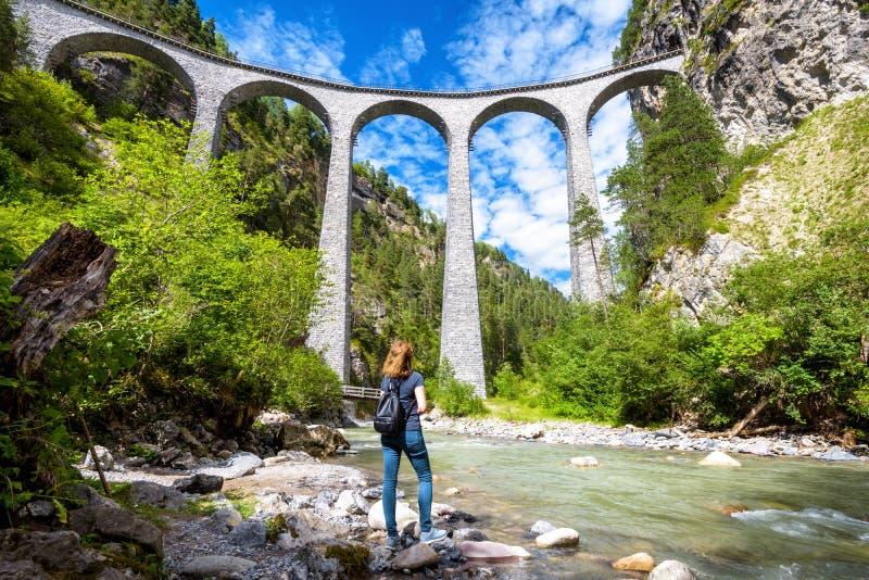 Landwasser Viaduct in Filisur, Switzerland stock image