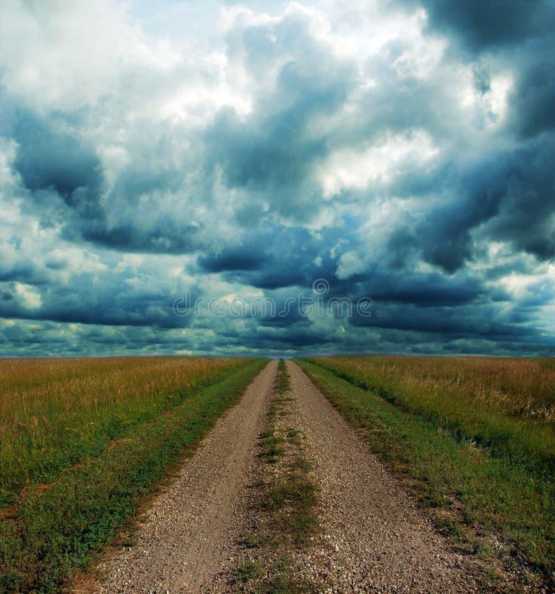 Landweg door de Prairie in Onweer royalty-vrije stock foto