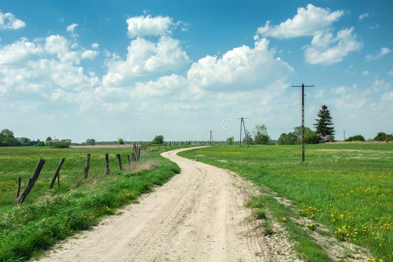 Landweg door groene weilanden, houten posten in de omheining, gele bloemen in het gras en elektrische polen stock foto