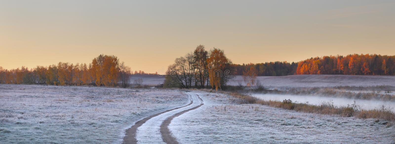 Landweg op sneeuwgebied stock fotografie