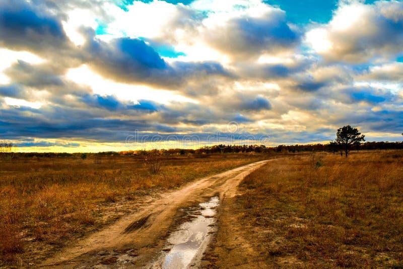 Landweg Savanah royalty-vrije stock afbeeldingen