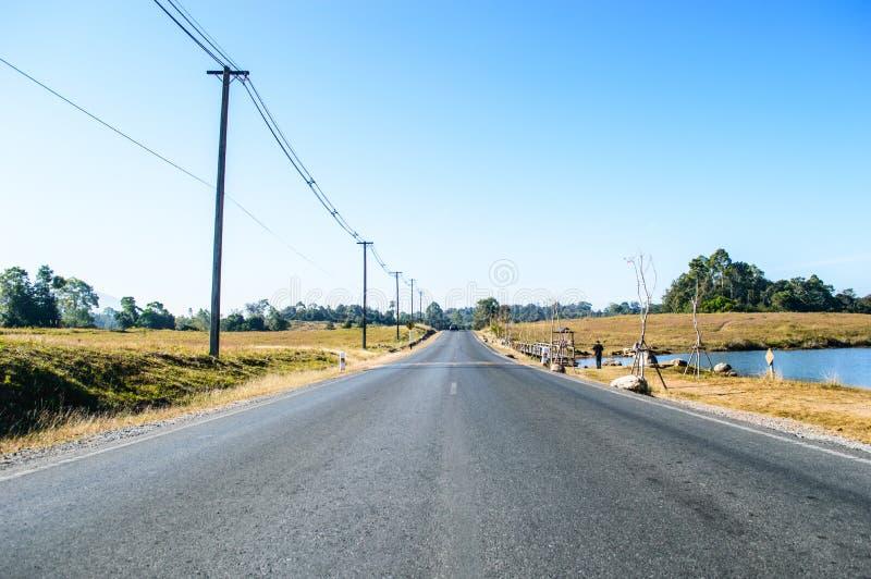 Landweggen en elektriciteitspolen stock foto's
