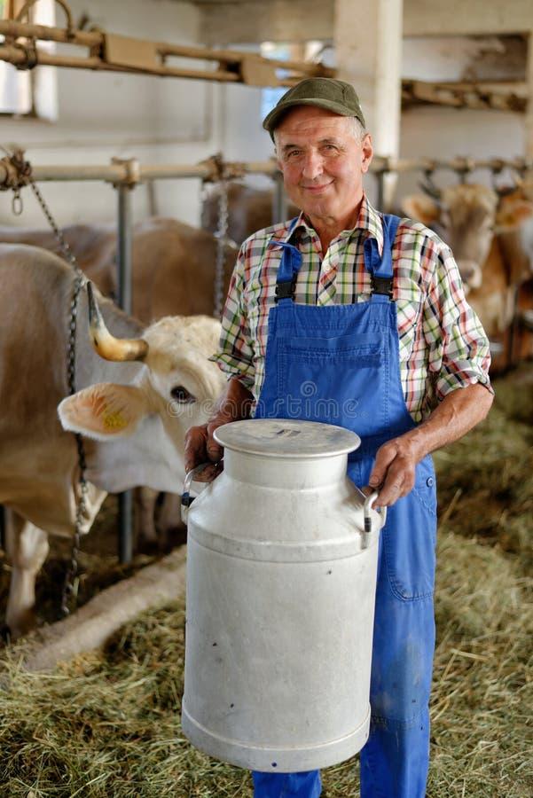 Landwirt arbeitet an dem Biohof stockbilder