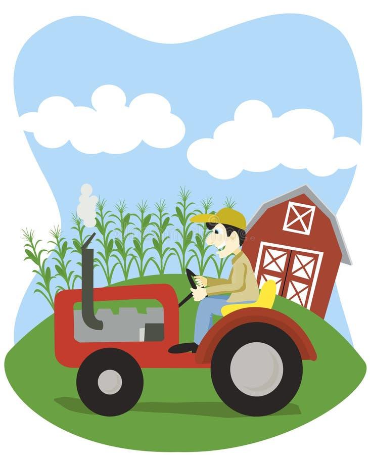 Landwirt auf einem Traktor stock abbildung