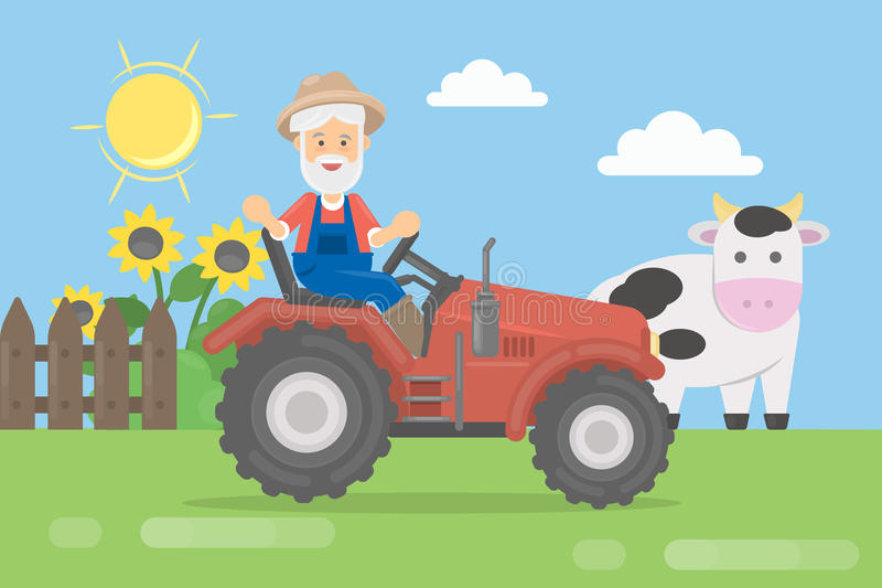 Landwirt auf Traktor stock abbildung