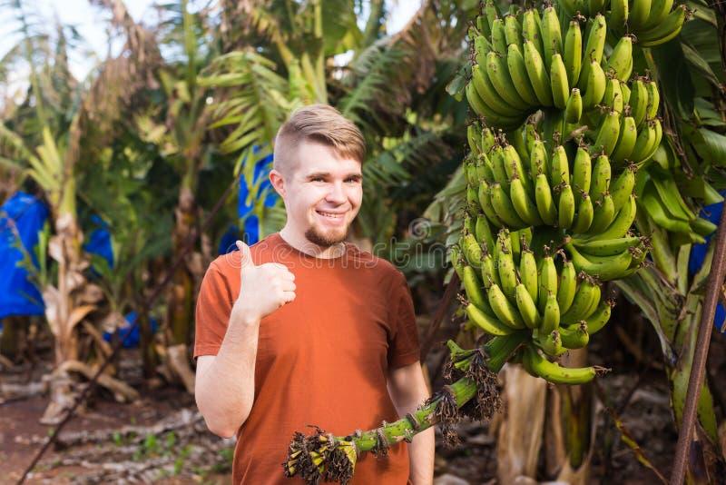 Landwirt, der Daumen oben auf Bananenplantage gibt lizenzfreies stockfoto