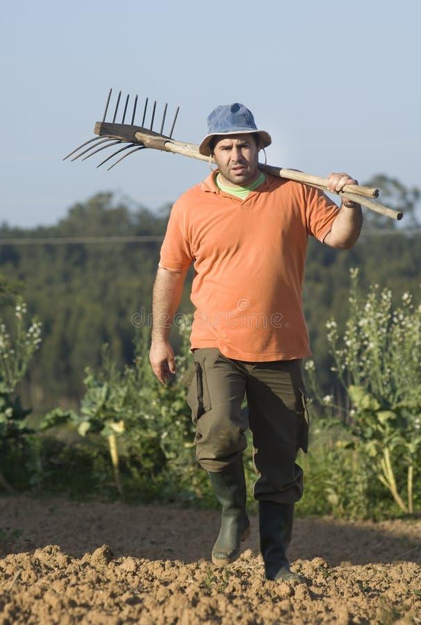Landwirt, der an dem Bauernhof arbeitet lizenzfreies stockfoto