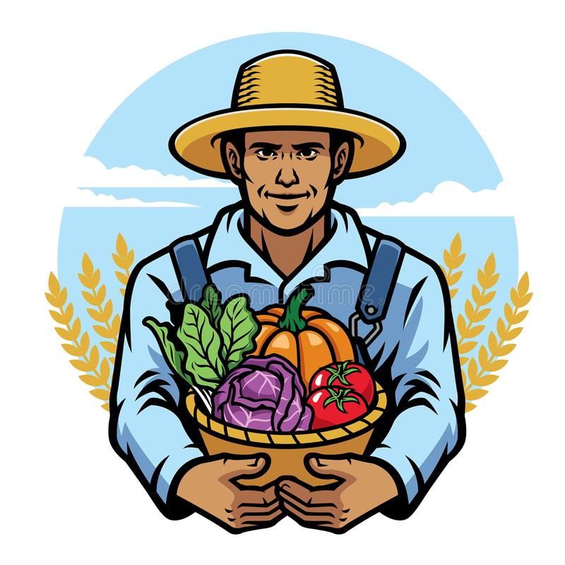 Landwirt, der einen Korb voll vom Gemüse anhält stock abbildung