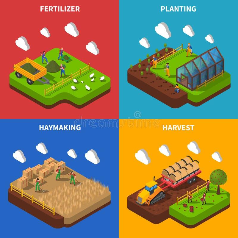 Landwirt-Isometric Concept Icons-Satz lizenzfreie abbildung
