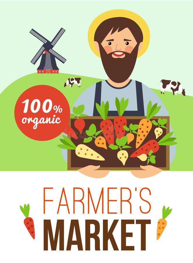 Landwirt-Markt-Bioprodukt-flaches Plakat stock abbildung