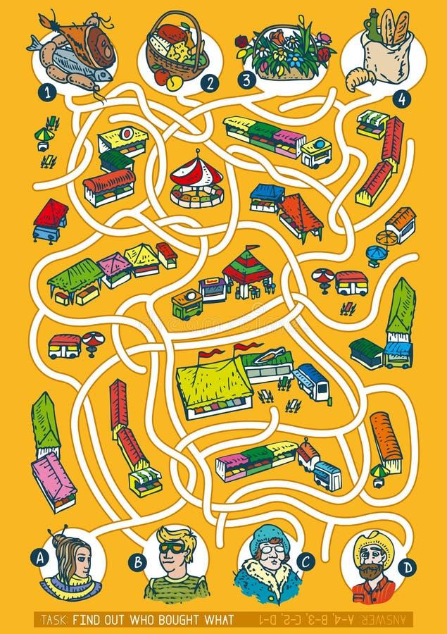 Landwirt-Markt Maze Game vektor abbildung