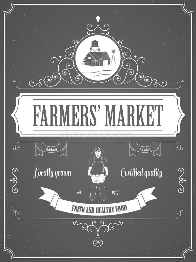 Landwirt-Markt-Weinlese-Anzeigen-Plakat lizenzfreie abbildung