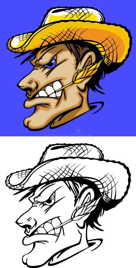 Landwirt-Maskottchen-Zeichen lizenzfreie abbildung