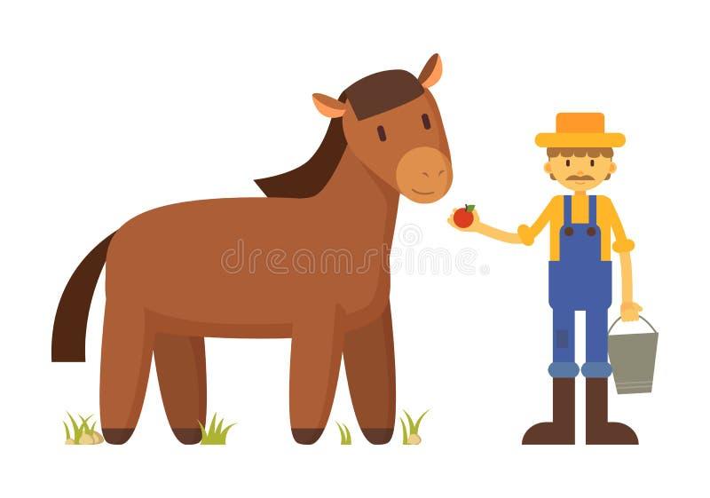 Landwirt mit Apple- und Pferdekarikatur-Illustration lizenzfreie abbildung