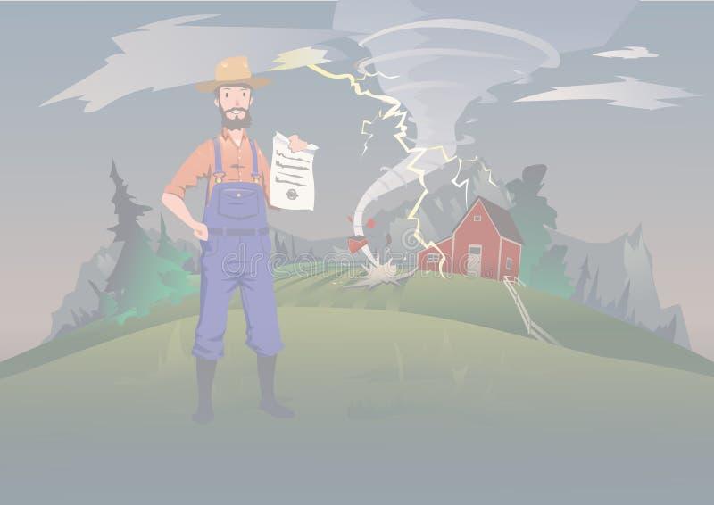 Landwirt ` s Versicherungskonzept, Vektorillustration Tornado auf dem Bauernhof Ein ruhiger Landwirt steht und hält die Versicher lizenzfreie abbildung
