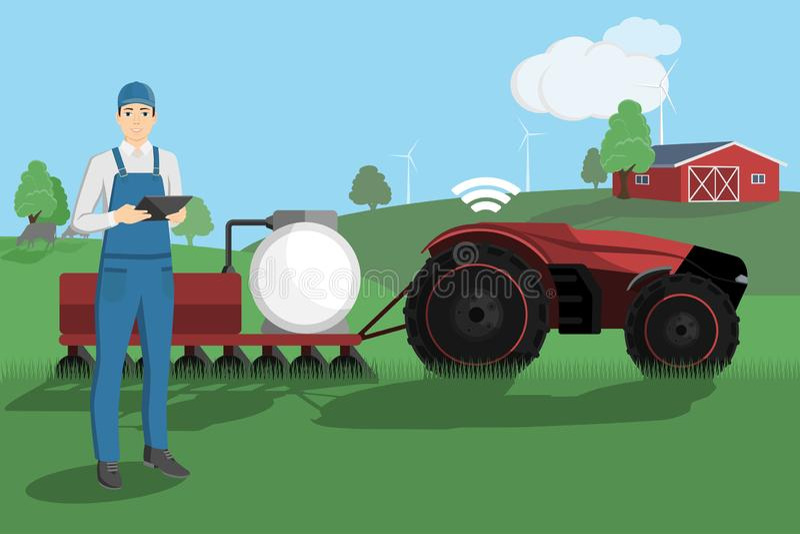 Landwirt steuert einen autonomen Traktor stock abbildung