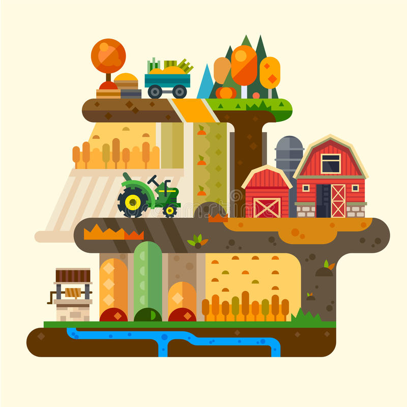 Landwirt- und Kätzchenzufuhrpferd stock abbildung