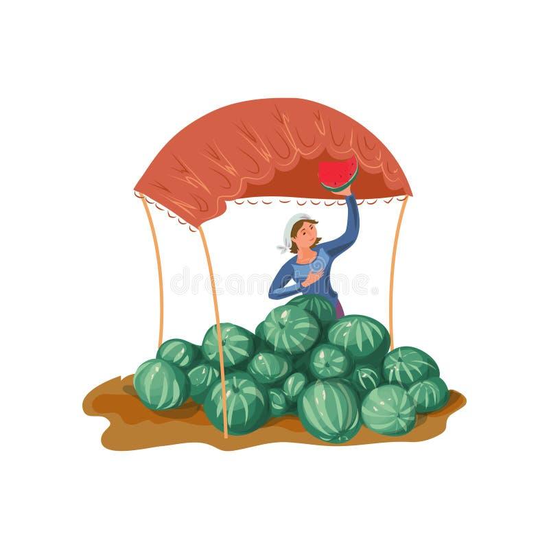 Landwirtfrau zeigt rotes Stück der natürlichen Wassermelone stock abbildung