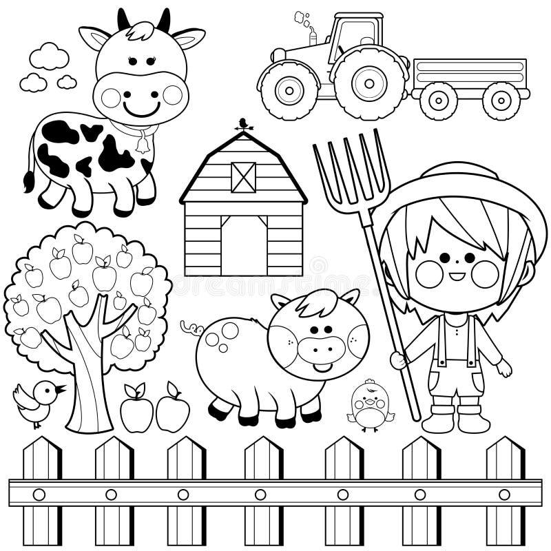 Landwirtjunge und Tiersammlung Schwarzweiss-Malbuchseite vektor abbildung