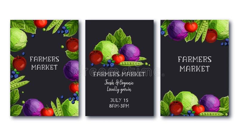 Landwirtmarkt-Plakatschablone stellte mit Frischgemüse und Früchte und Text auf schwarzem Hintergrund ein stock abbildung