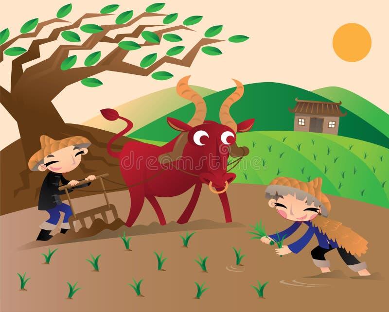 Landwirtschaft in altem China lizenzfreie abbildung