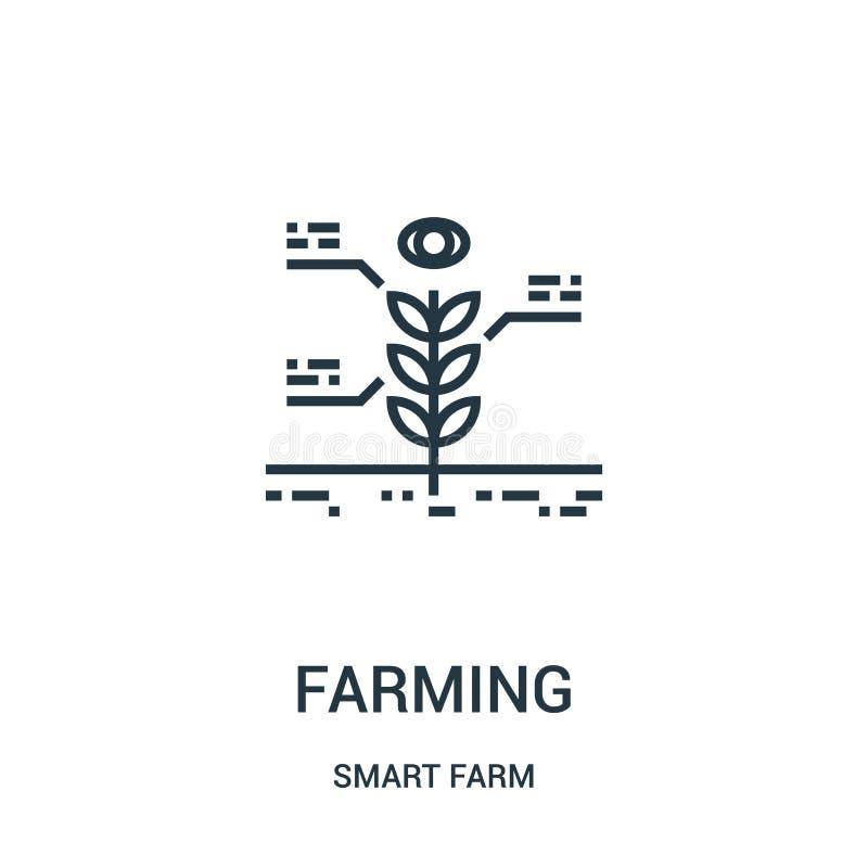 Landwirtschaft des Ikonenvektors von der intelligenten Bauernhofsammlung Dünne Linie, die Entwurfsikonen-Vektorillustration bewir lizenzfreie abbildung