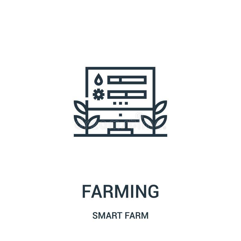 Landwirtschaft des Ikonenvektors von der intelligenten Bauernhofsammlung D?nne Linie, die Entwurfsikonen-Vektorillustration bewir lizenzfreie abbildung