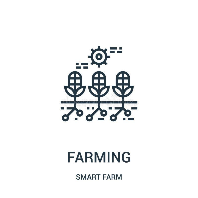 Landwirtschaft des Ikonenvektors von der intelligenten Bauernhofsammlung D?nne Linie, die Entwurfsikonen-Vektorillustration bewir stock abbildung