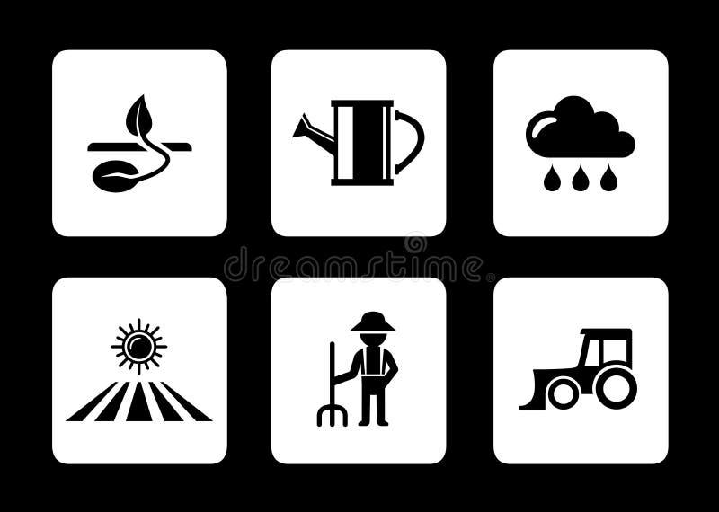 Landwirtschaft sechs Ikonen stock abbildung