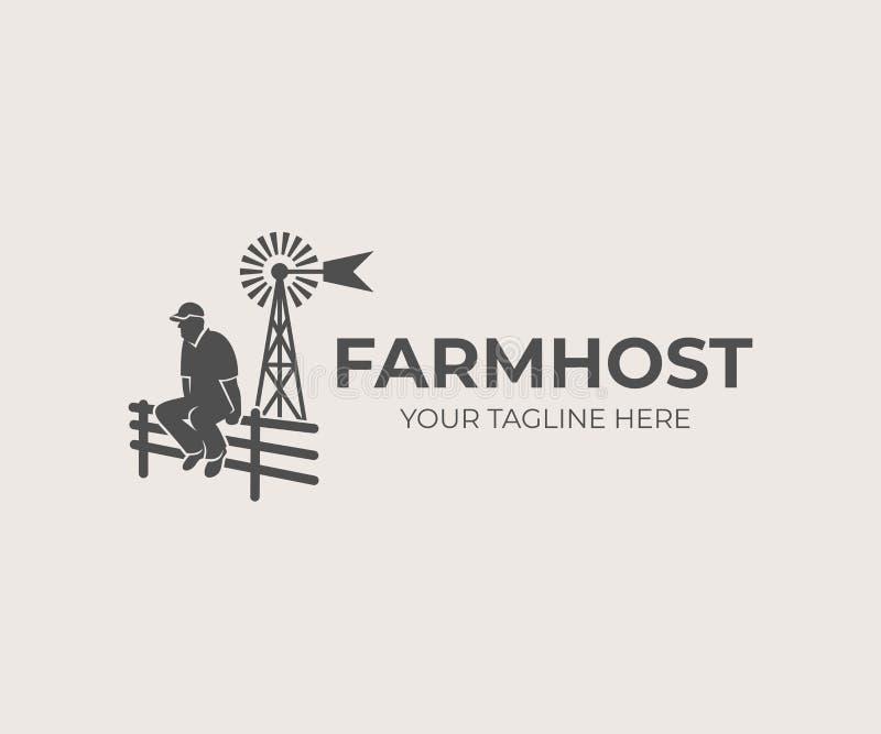 Landwirtschaft und Landwirtschaft, Landwirt, der auf Zaun auf Hintergrund aermotor Windmühle, Logodesign sitzt Bauernhof und land lizenzfreie abbildung