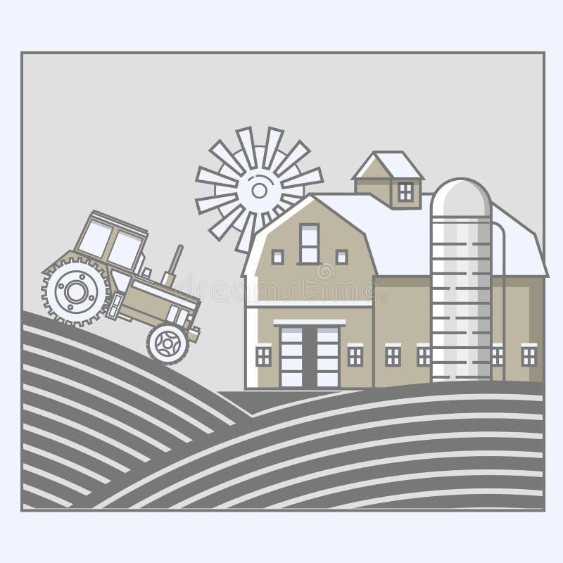 Landwirtschaft und Landwirtschaft agrargeschäft Ländliche Landschaft in der Linie Kunstdesign vektor abbildung