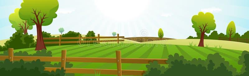 Landwirtschaft und Landwirtschaft von Sommer-Landschaft lizenzfreie abbildung