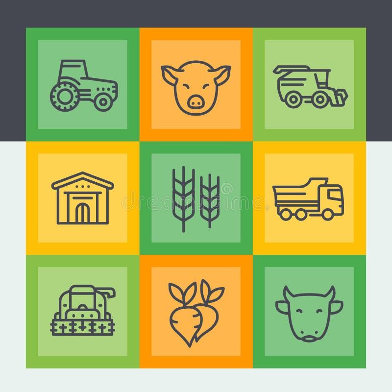 Landwirtschaft und Landwirtschaftslinie Ikonen eingestellt stock abbildung