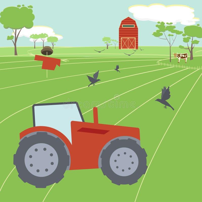 Landwirtschaft von Landschaft mit Traktor lizenzfreie abbildung