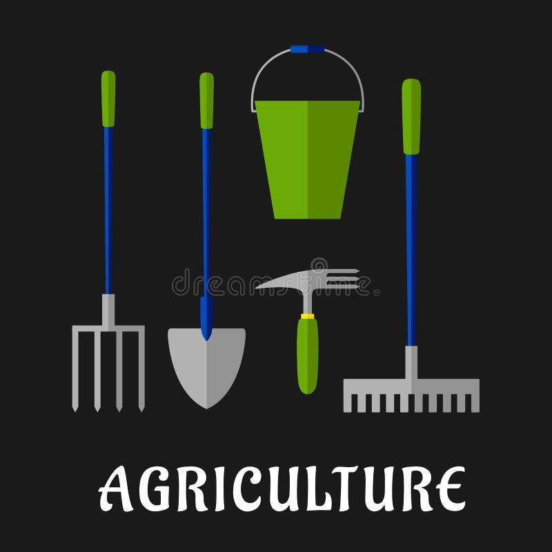 Landwirtschaftlich und flache Ikonen der Gartenarbeitwerkzeuge stock abbildung