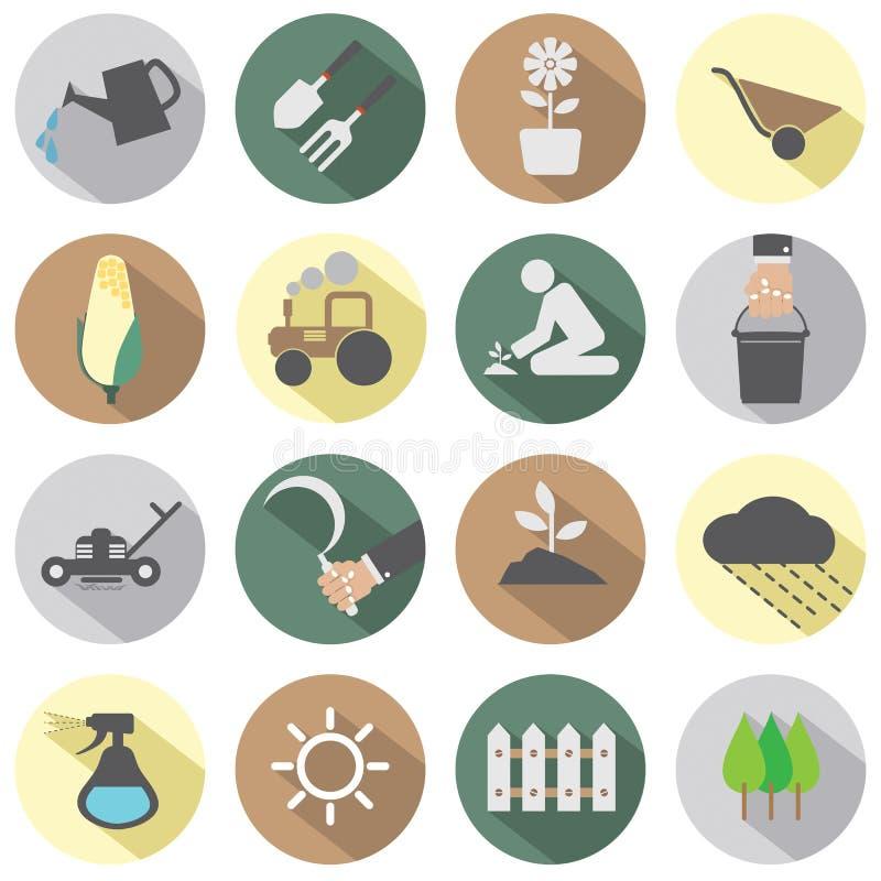 Landwirtschaftliche Ausrüstungs-Ikonen vektor abbildung