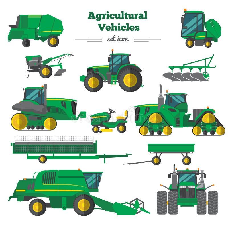 Landwirtschaftliche Fahrzeug-flache Ikonen eingestellt stock abbildung