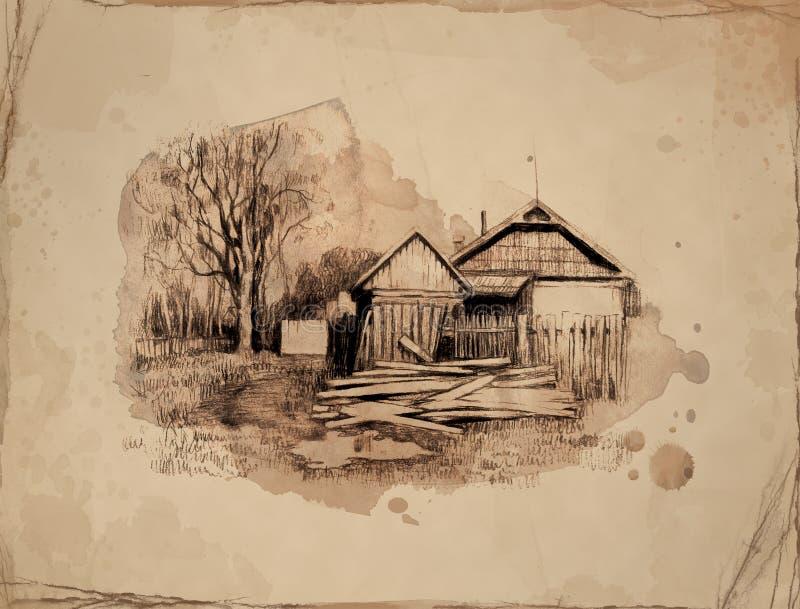 Landwirtschaftliche Landschaft mit altem Haus. stock abbildung