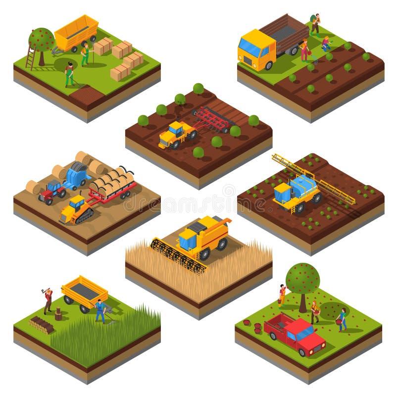 Landwirtschaftliche Maschinen-isometrischer Feld-Satz stock abbildung