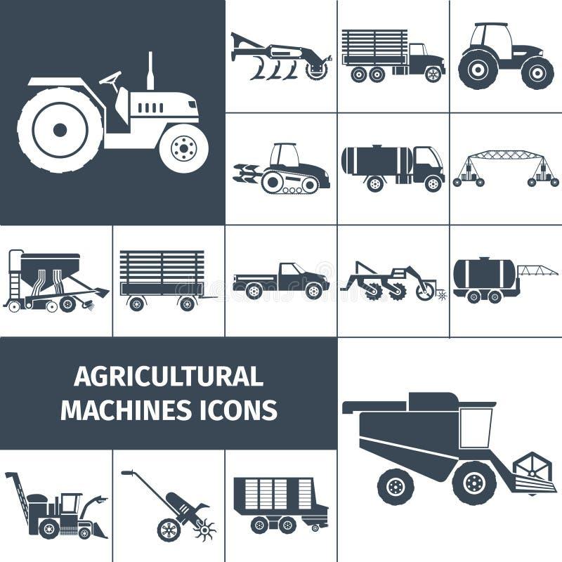 Landwirtschaftliche Maschinerie-Schwarz-weiße Ikonen eingestellt vektor abbildung