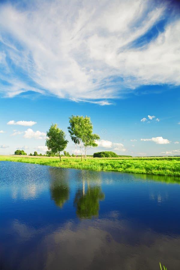Landwirtschaftliche Seelandschaft lizenzfreie stockfotos