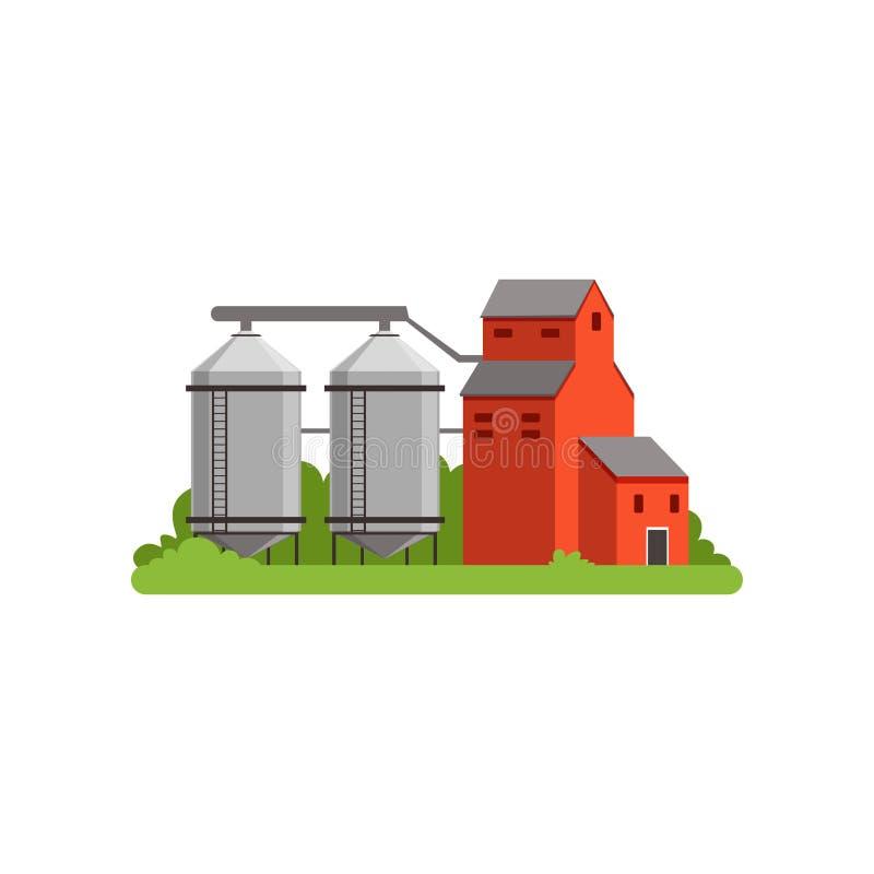 Landwirtschaftliche Silotürme und Wirtschaftsgebäude, Landschaftslebengegenstandvektor Illustration stock abbildung