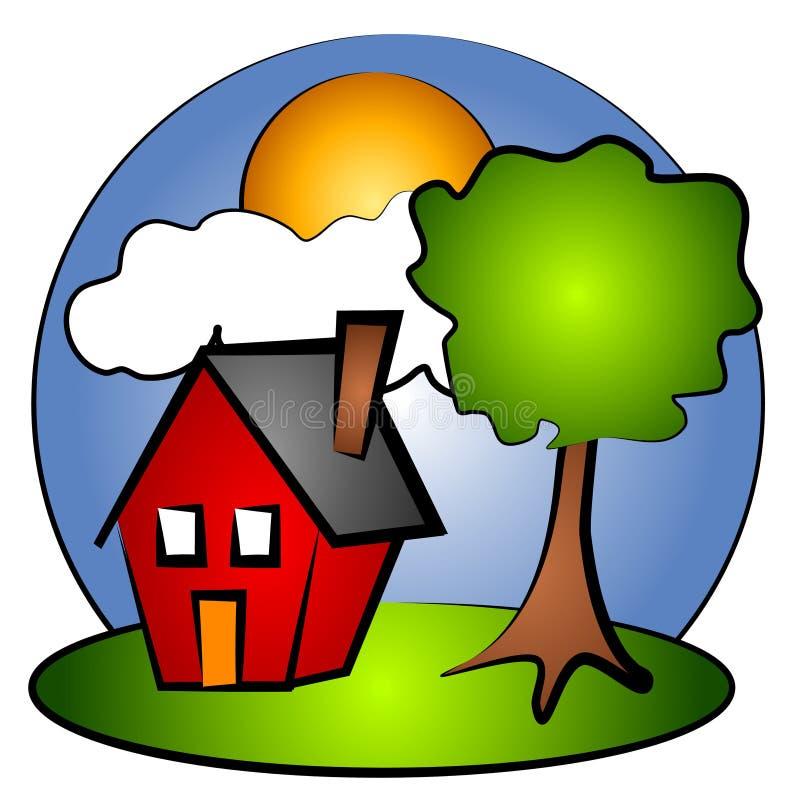 Landwirtschaftliche Szenen-rote Haus-Klipp-Kunst vektor abbildung